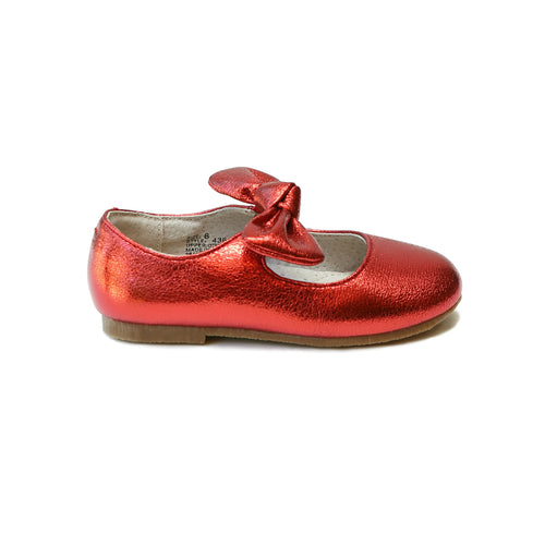 Celia Knotted Bow Flat in Crinkled Metallic Red - L'Amour Shoes