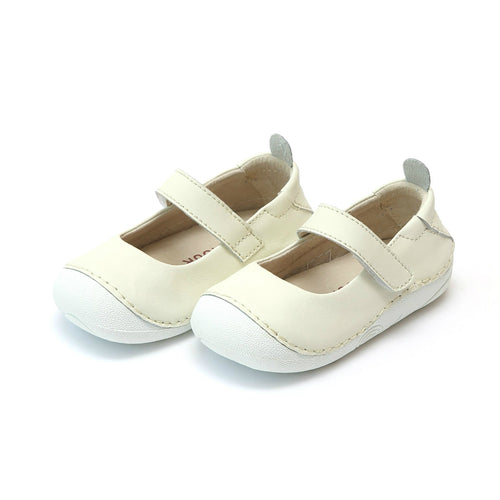 L'Amour Toddler Girls Emily Cream Leather Classic Sporty Mary Jane