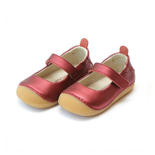 L'Amour Girls Emily Metallic Red Leather Sporty Mary Jane - Lamourshoes.com