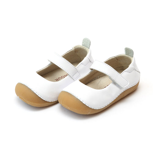 L'Amour Toddler Girls Emily White Leather Classic Sporty Mary Jane