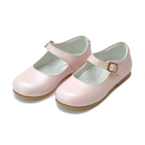 Rebecca Special Occasion Pearlized Pink Leather Flat - L'Amour Shoes