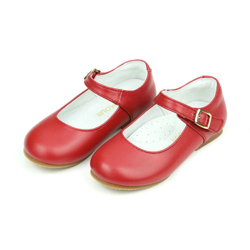 Rebecca Special Occasion Red Leather Flat - L'Amour Shoes