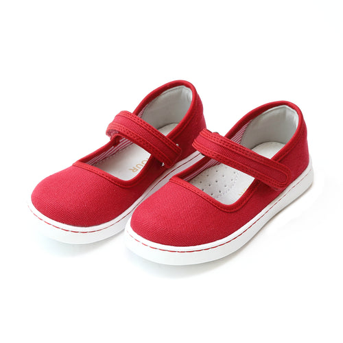 L'Amour Girls Jenna Red Canvas Playground Mary Jane - Lamourshoes.com