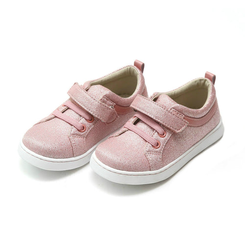 L'Amour Girls Natalie Metallic Pink Textile Playground Sneaker - Lamourshoes.com