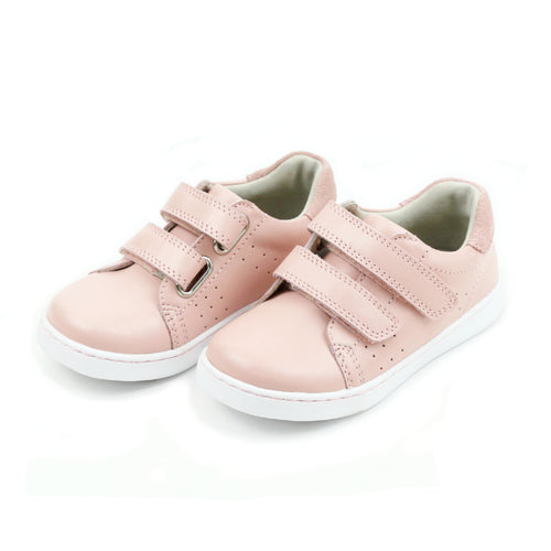 L'Amour Shoes Girls Kenzie Double Velcro Pink Leather Sneaker