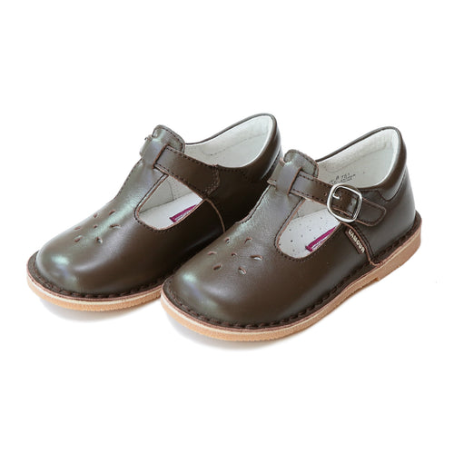 Joy Classic Brown Leather Stitch Down T-Strap Mary Jane - L'Amour Mary Janes