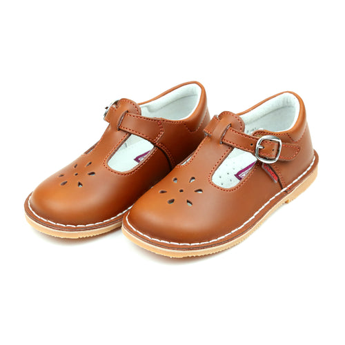 Joy Classic Cognac Leather Stitch Down T-Strap Mary Jane - L'Amour Mary Janes