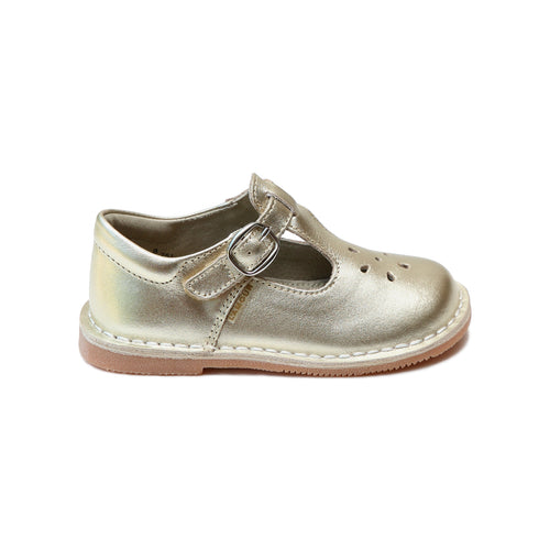 Joy Metallic Gold Stitch Down Leather T-Strap Mary Jane - L'Amour Shoes