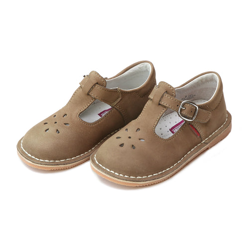 Joy Classic Nubuck Khaki Leather Stitch Down T-Strap Mary Jane - L'Amour Shoes