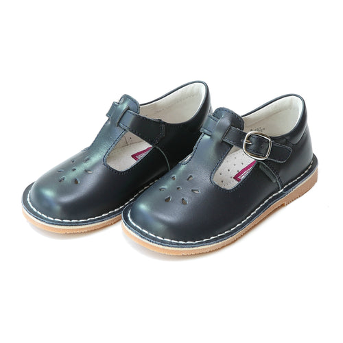 Joy Classic Navy Leather Stitch Down T-Strap Mary Jane - L'Amour Mary Janes