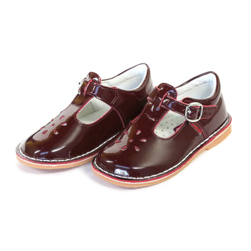 Joy Classic Patent Burgundy T-Strap Mary Jane - L'Amour Shoes