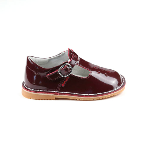 Joy Classic Patent Burgundy T-Strap Mary Jane - Side - L'Amour Shoes