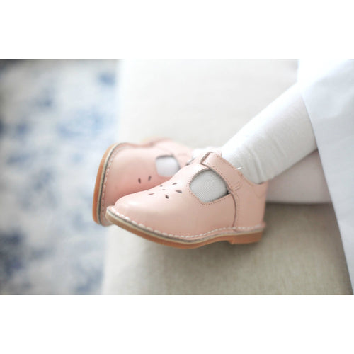 Joy Classic Pink Leather Stitch Down T-Strap Mary Jane - L'Amour Mary Janes