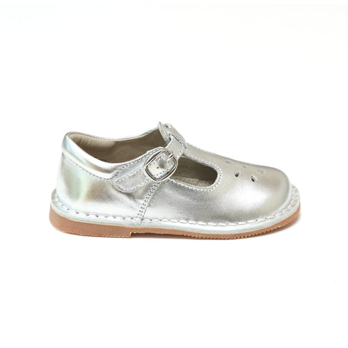 Joy Metallic Silver Stitch Down Leather T-Strap Mary Jane - L'Amour Shoes