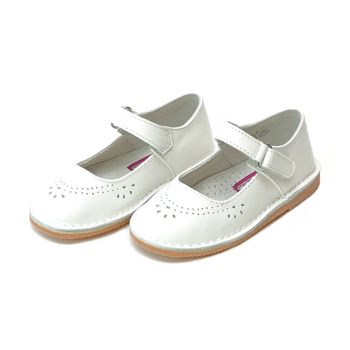 Allegra White Perforated Classic Stitch Down Leather Mary Jane - L'Amour Shoes