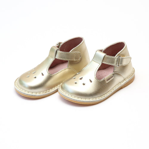 Cassie Gold Stitch Down Leather T-Strap Mary Jane - L'Amour Mary Janes