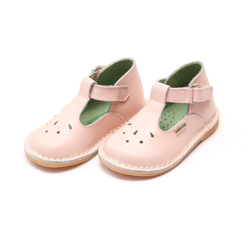 Cassie Pink Stitch Down Leather T-Strap Mary Jane - L'Amour Mary Janes
