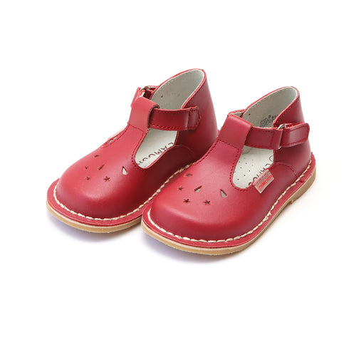 Cassie Red Stitch Down Leather T-Strap Mary Jane - L'Amour Mary Janes