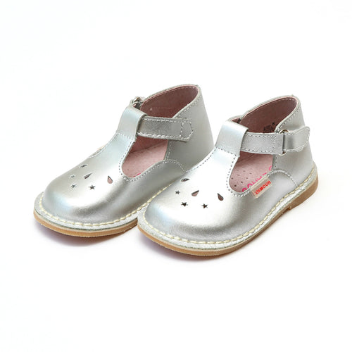 Cassie Silver Stitch Down Leather T-Strap Mary Jane - L'Amour Mary Janes