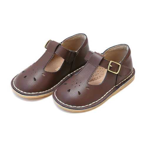 Bonnie Marron Brown Stitch Down Pebbled Leather T-Strap Mary Jane - L'Amour Shoes