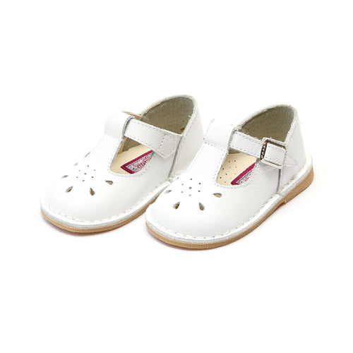 Bonnie White Stitch Down Leather T-Strap Mary Jane - L'Amour Mary Janes