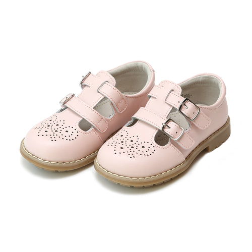 Beatrix Pink English Double T-Strap Mary Jane - lamourshoes.com