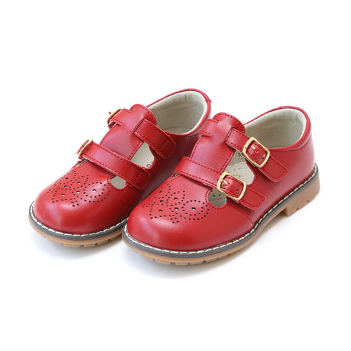 Beatrix English Red Double T-Strap Leather Mary Jane - L'Amour Shoes