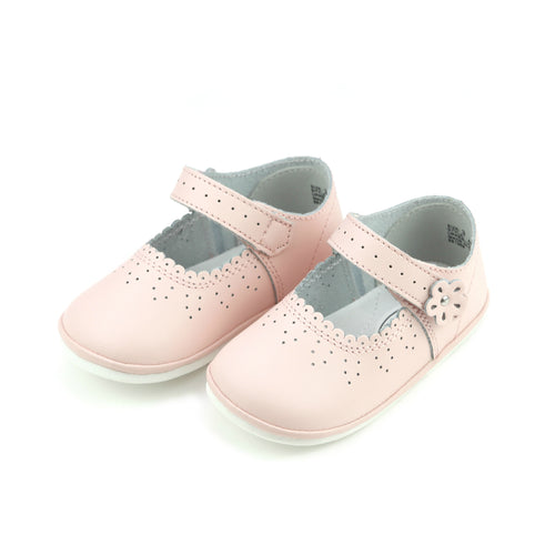 Mia Scalloped Pink Leather Mary Jane (Baby) - Angel Baby Shoes