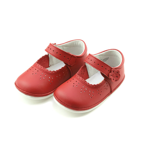 Mia Scalloped Red Leather Mary Jane (Baby) - Angel Baby Shoes