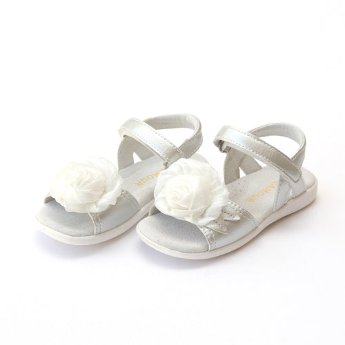 L'Amour Girls Rosamund Rosette Special Occasion Silver Leather Sandal - Lamourshoes.com