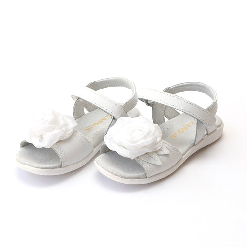 L'Amour Girls Rosamund Rosette Special Occasion White Leather Sandal - Lamourshoes.com