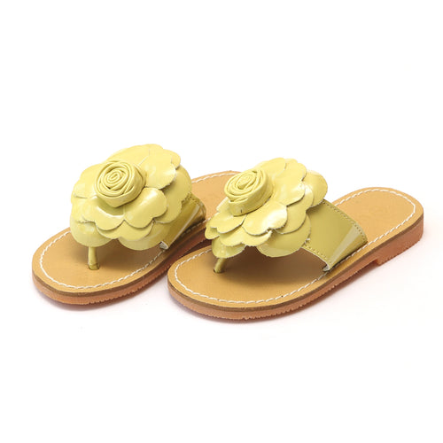 L'Amour Girls Samantha Yellow Flower Thong Sandal - Lamourshoes.com