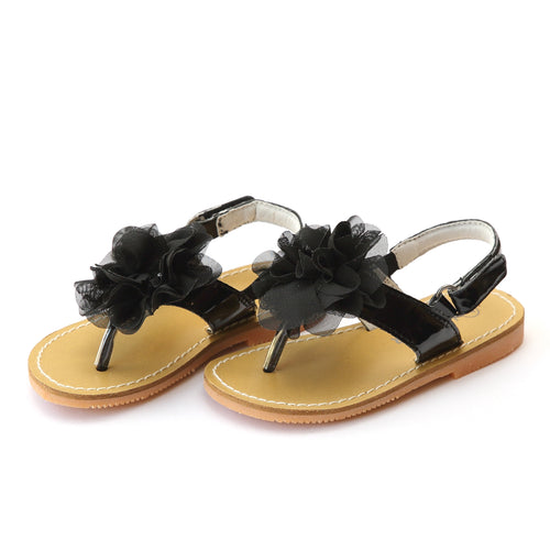 L'Amour Girls Simona Special Occasion Black Chiffon Flower Thong Sandal - Lamourshoes.com