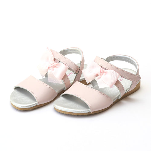 L'Amour Girls Veronica Pink Special Occasion Bow Sandal - Lamourshoes.com