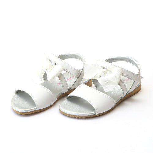 L'Amour Girls Veronica White Special Occasion Bow Sandal - Lamourshoes.com