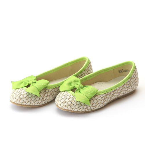L'Amour Shoes Cecilia Lime Bow Straw Flat - Lamourshoes.com