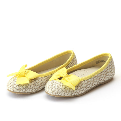 L'Amour Shoes Cecilia Yellow Bow Straw Flat - Lamourshoes.com