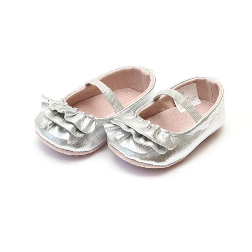 Elsie Silver Soft Leather Ruffle Mary Jane (Infant) - L'Amour Baby Shoes