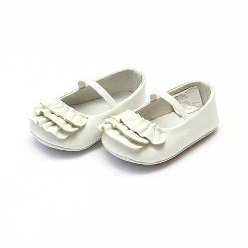 Elsie White Soft Leather Ruffle Mary Jane (Infant) - L'Amour Baby Shoes