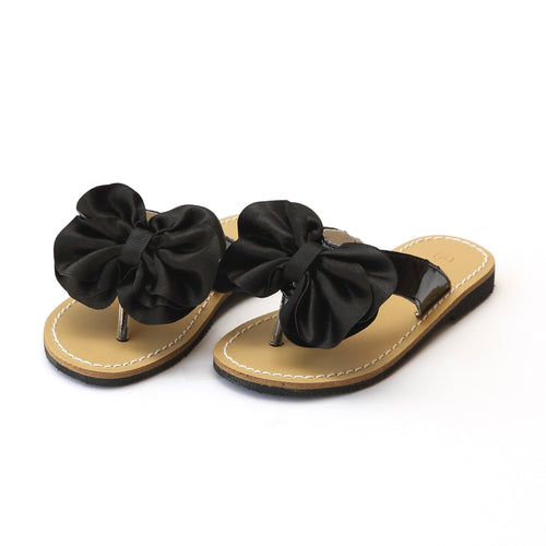 L'Amour Girls Cassia Black Satin Bow Thong Sandal - Lamourshoes.com