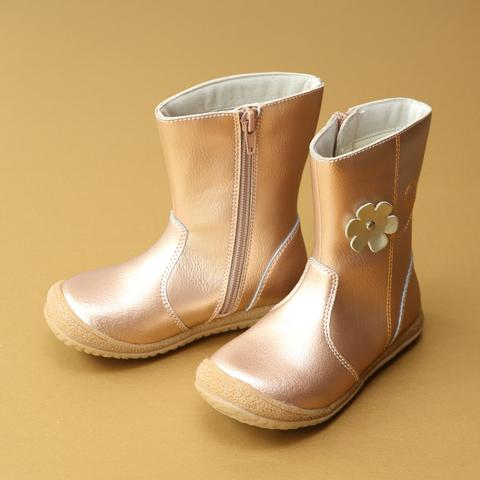 Madison Rosegold Leather Flower Mid Boot - lamourshoes.com