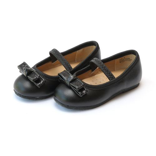 L'Amour Girls Tiffany Double Bow Leather Flat - Lamourshoes.com