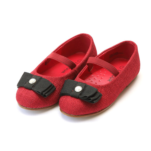 Anna Red Linen Jeweled Bow Flat - L'Amour Flats