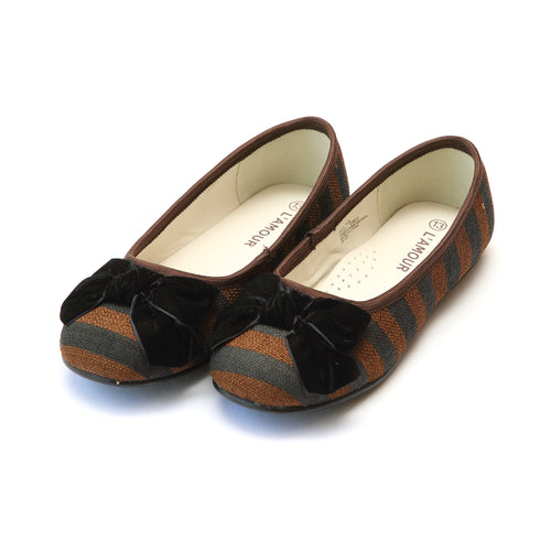 Nanette Linen Striped Bow Flat - L'Amour Flats