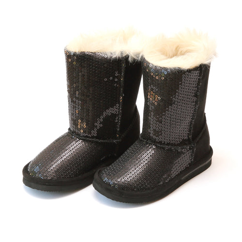 L'Amour Carol Girl's Holiday Black Sequin Boot - Lamourshoes.com