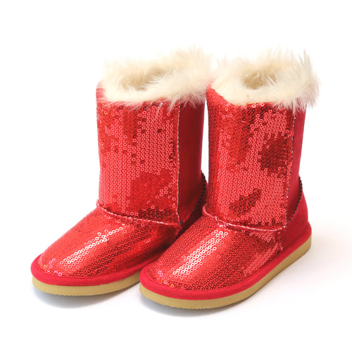 L'Amour Carol Girl's Holiday Red Sequin Boot - Lamourshoes.com
