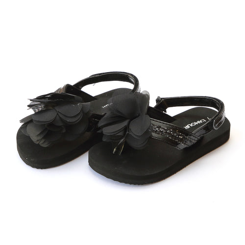 L'Amour Girls Kimberly EVA Black Glitter Sequined Strap Flower Flip Flop - Lamourshoes.com