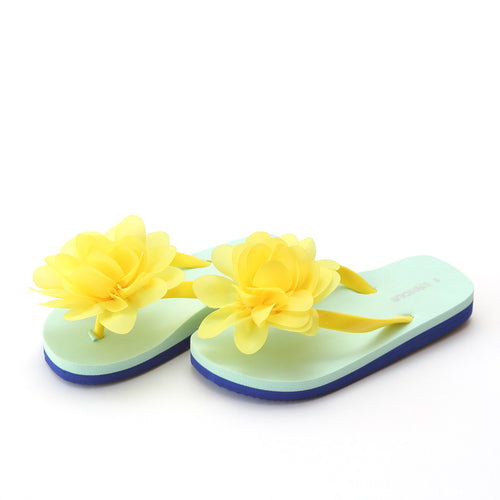 L'Amour Girls Joyce Yellow Flower EVA Flip Flop - Lamourshoes.com