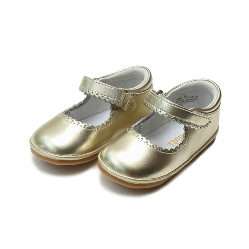 Cara Gold Scalloped Leather Mary Jane (Baby) - Angel Baby Shoes