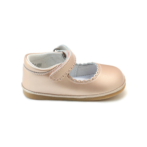 Cara Pink Gold Scalloped Leather Mary Jane (Baby)- ONLINE EXCLUSIVE at L'Amour Shoes